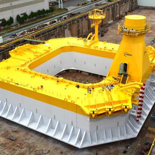 次世代型の洋上風力発電システムの浮体が完成!今秋、北九州市沖で実証研究スタート